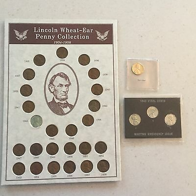 Lincoln Wheat-Ear Penny Collection 1934-1958  1943 Steel Cents and 1959 Penny