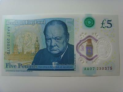 Aa07 230375 New £5 Polymer Note Uncirculated (Consecutive Numbers Availble)