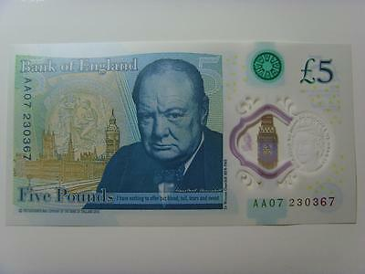 Aa07 230367 New £5 Polymer Note Uncirculated (Consecutive Numbers Availble)