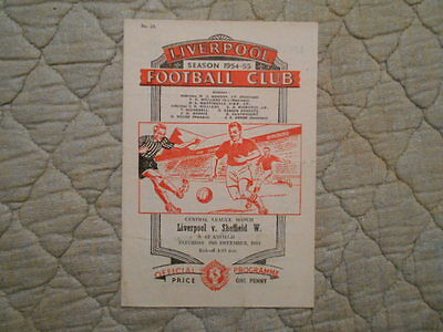 Liverpool Res V Sheffield Wed Res Central League Match Programme December 1954