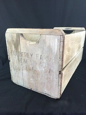 Vintage Wood Dairy Crate Bottle Homestead Fla. Milk Bottle
