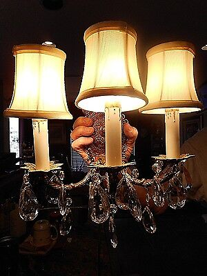 Antique Brass Candle Sconce Vintage Wall 3 Light Fixture Crystal prisms Electric