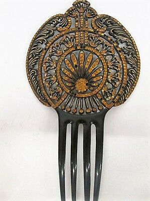 Vtg c1900 ART NOVEAU Jeweled Hair Comb Accessory Spanish Style Black Celluloid