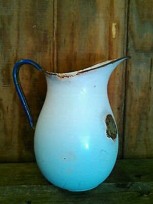 antique vintage rustic porcelain pitcher