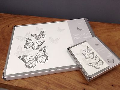 Set of 8 Grey & White Butterfly 4 Placemats & 4 Coasters ~ Kitchen Dining Table