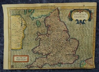 England London Wales Swansea Great Britain Original Engraving Map Mercator 1630