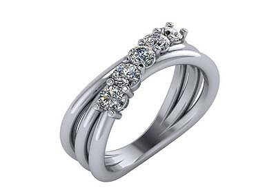 0.60ct Solid 14K White Gold Wedding Band with Simulated Diamonds