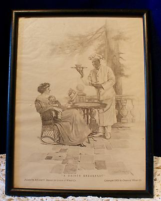 """Wood Framed Antique ©1915 Cream Of Wheat Co. Advertisement  """"A DAINTY BREAKFAST"""""""