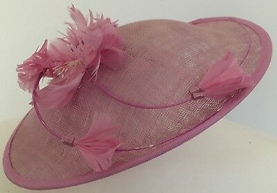 Pink Occasion Saucer Style Hat Fascinator with feather & flower trim