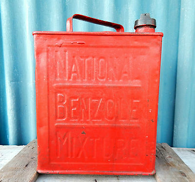Vintage National Benzole 2 Gallon Petrol Oil Fuel Can & Cap - Car Enthusiast