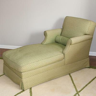 VTG Down Filled Chaise Lounge Green Honeycomb Reclining Chair Designer Recliner