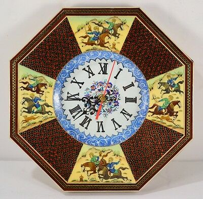 Vintage Persian Hand Painted Inlaid Wood Polo Khatam Marquetry Frame Clock