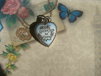 Vintage Porclein Easter Puffy Heart Charm - Collectors Item