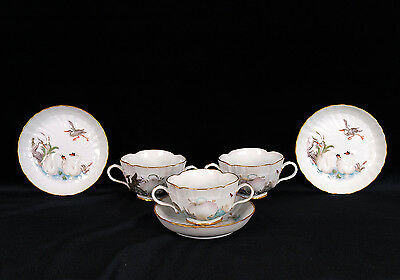 Antique Meissen Swan Service Cups with Saucers