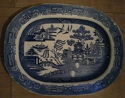 Vintage Meat Platter Staffordshire Willow pattern Dish LARGE Antique Blue White