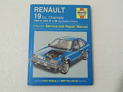 HAYNES-MANUAL - RENAULT 19 inc Chamade 1989 to 1994  (F to M reg) - Used -  Vgc