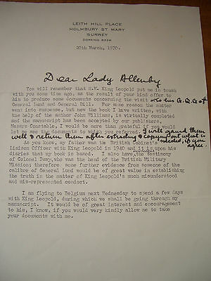 Letter written by Lord Keyes about Leopold III, King of the Belgians