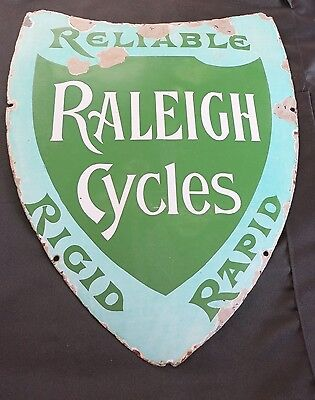 Raleigh Reliable Cycles Rigid Rapid enamel sign vintage mid 1900's