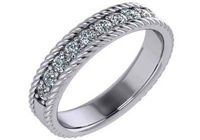 0.44ct Solid 14K White Gold Wedding Band with Simulated Diamonds