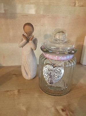Glass Jar With Heart Charm Mothers Day Birthday Gift