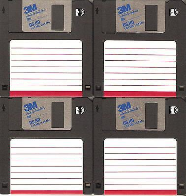 "4 – HD 1.44 MB Floppy Diskettes (disks) 3.5"" – 3 ½"" used – 3M - formatted"