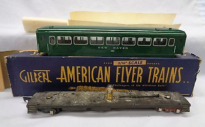 Am Flyer New Haven 650 Passenger Car..Green..S Scale..1946-53..Lighted..Orig Box