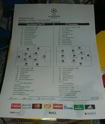"Manchester City ""champions league"" teamsheet 2016/17 v Barcelona"