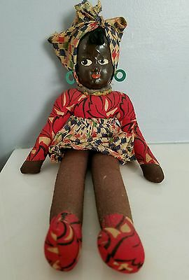 BLACK AMERICANA DOLL Vintage Painted Oil Cloth Face ANTIQUE