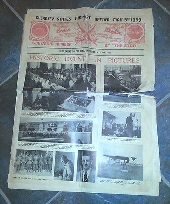 Guernsey, Scarce Newspaper  1939, Opening Of The Airport, Has Faults,  Complete