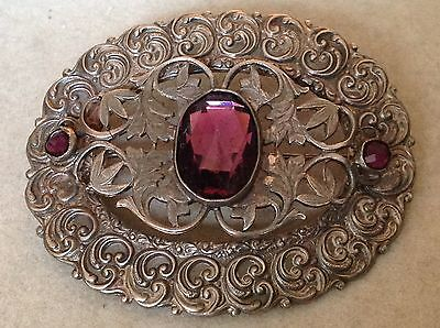 SUPER 1900s VICTORIAN FLORAL GARNET BOHEMIAN GLASS SILVER PIN/ BROOCH ANTIQUE