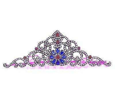 Victorian 14.00 CT Rose Cut Diamond & Ruby & Sapphire Sterling Silver Tiara