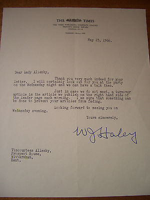 Typed letter signed by The Times editor, Sir William Haley, 1966