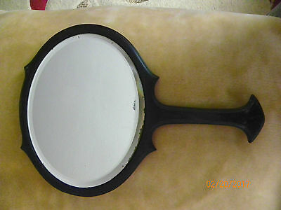 Antique  Ebony Bevelled Glass Oval Hand Mirror With White Metal Monogram On Back