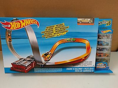 Hot Wheels Figure 8 Raceway Motorised Track Race Set With 6 Cars Brand New Boxed