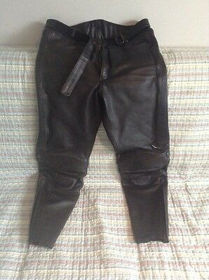 Mens Leather Biker Motorcycle Trousers W34""