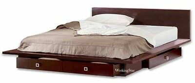 Queen or King Platform Bed with Drawers, Furniture Woodworking Plans / Patterns