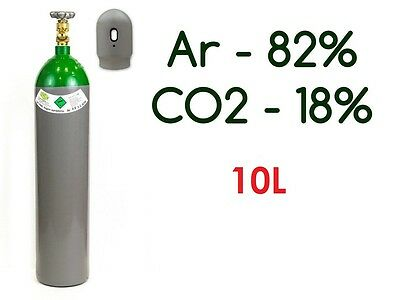 NEW Argon 82% CO2 18%  FULL Bottle Cylinder 10 Liter 200 Bar Pure Welding Gas