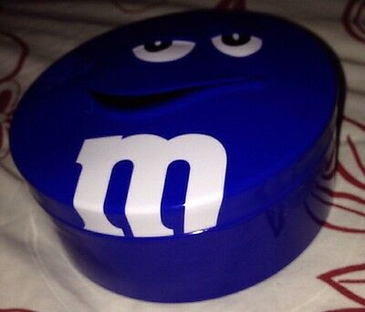 Collectable round blue m&m Tin