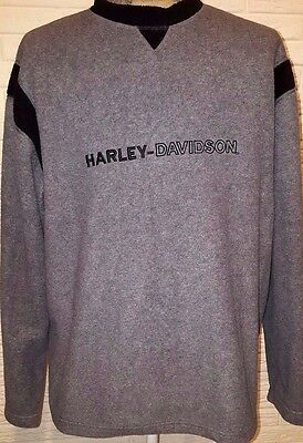 HARLEY-DAVIDSON Men's Fleece Pullover Sweatshirt Black/Gray Size XL Denver Co