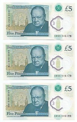 Very Rare Set Of 3 Low Number New Bank Of England Polymer £5 Notes Consecutive