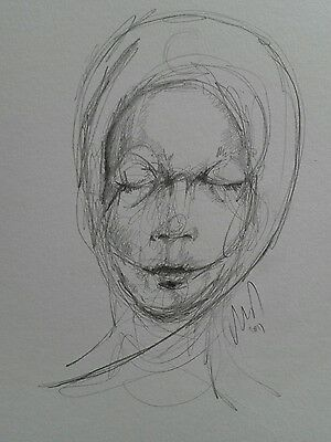 original semi abstract  portrait  pencil drawing sketch of woman with eyes shut