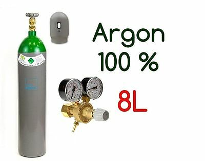 Argon Gas Bottle Cylinder 100% FULL 8 Liter 200 Bar Pure Welding Regulator