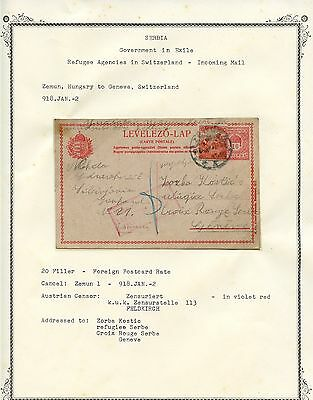 SERBIA Government in Exile 1918 CENSORED PS Incoming Mail to Switzerland #2 -PK5