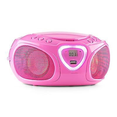 Compact Cd Player Boombox Radio Am/fm Bluetooth Led Colour Display Pink Mp3 Usb