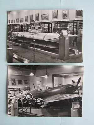 SPITFIRE AND GERMAN MIDGET SUBMARINE BW POSTCARDS - IMPERIAL WAR MUSEUM 1960s