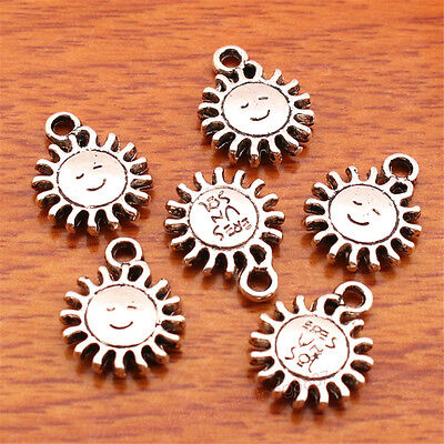 40 Piece 15*12mm Smile Sun Charms Tibetan Silver Bail DIY Jewelry Bracelet 7173F