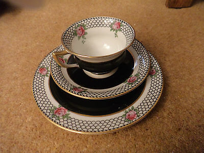 vintage Aynsley trio rose and lace cup saucer and plate