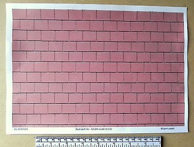 Dolls house 1/12th scale red roof tile paper - A4 sheet (297x210 mm)