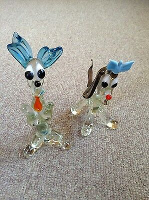 Pair Of Charming Murano Glass Dogs