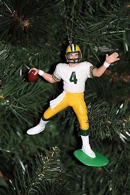 brett favre christmas ornament green bay packers white jersey passing 5 stripe - Green Bay Packers Christmas Ornaments